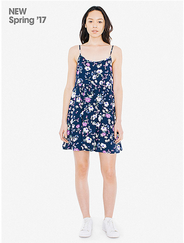 Printed Viscose Twill Spaghetti Strap Babydoll Dress