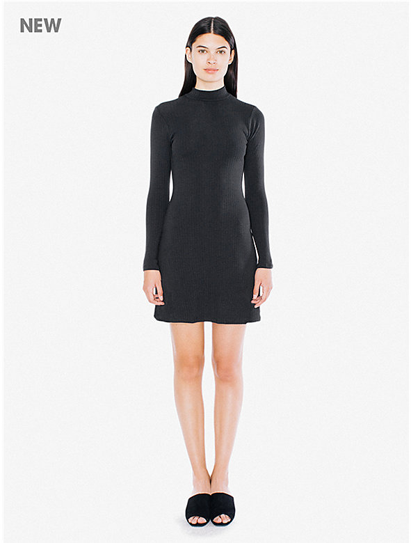 9x1 Rib Long Sleeve Mock Neck Mini Dress