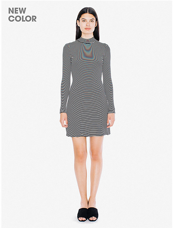 Striped 9x1 Rib Long Sleeve Mock Neck Mini Dress