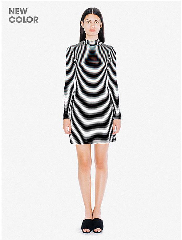 Striped 9x1 Rib Long Sleeve Mock Neck Mini Dress