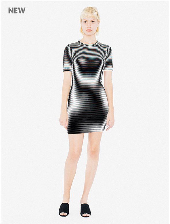 9x1 Rib Short Sleeve Crewneck Mini Dress