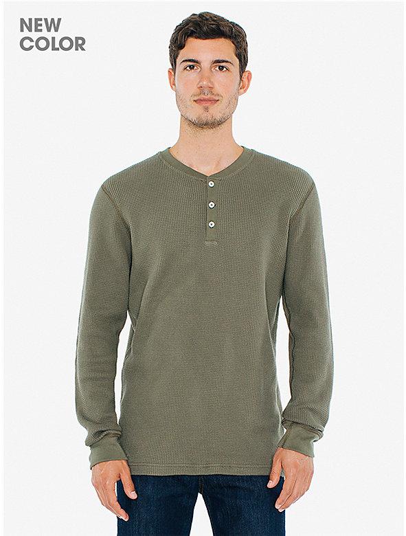 Waffle Thermal Henley Long Sleeve T-Shirt