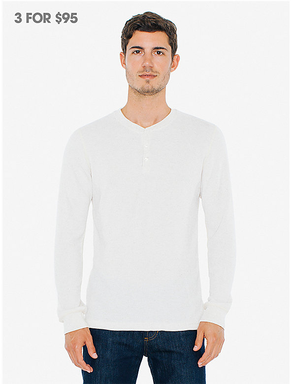 Waffle Thermal Henley Long Sleeve T-Shirt