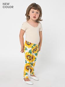 Kids' Floral Printed Cotton Spandex Jersey Legging