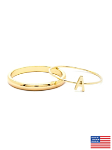 Gold Tone ABC Stacking Ring Set