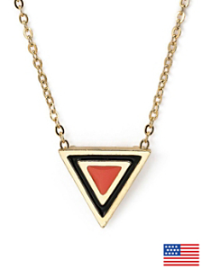 Coral Enamel Triangle Necklace