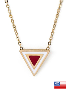 Red Enamel Triangle Necklace