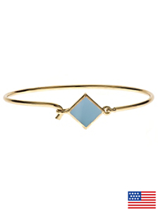 Hinged Wire Bracelet with Baby Blue Clasp