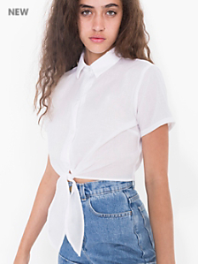 Lawn Mid-Length Tie-Up Blouse