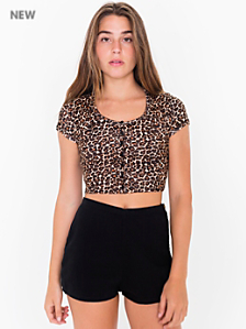 Printed Baby Rib Button Crop Top
