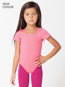 Kids' Cotton Spandex Jersey Short Sleeve Leotard