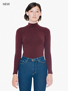 Cotton Spandex Long Sleeve Turtleneck Top