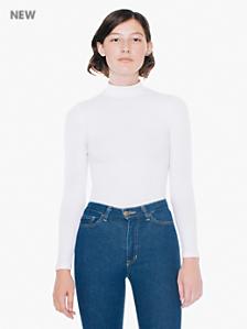 Cotton Spandex Long Sleeve Turtleneck Top
