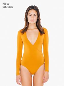 Cotton Spandex Jersey Cross-V Bodysuit