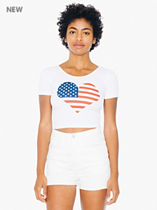 Screen Printed Cotton Spandex Jersey Crop Tee - American Heart