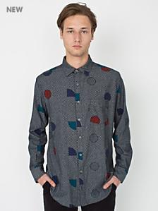 Printed Chambray Long Sleeve Button Up Shirt