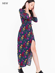 Printed Julliard Wrap Dress