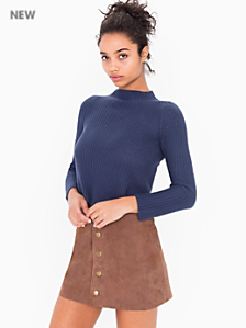 Suede Button Front A-Line Skirt