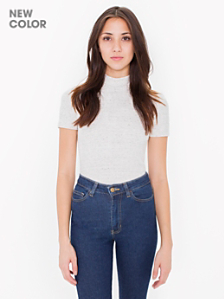 Ponte Mock Neck Short Sleeve Top