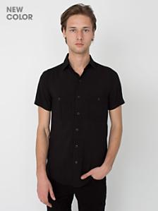 Rayon Challis Short Sleeve Button Up Shirt