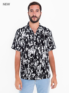 Printed Camp Collar Button Down Short Sleeve Shirt