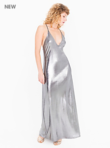 Metallic Jersey Strappy Maxi Dress