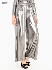 Metallic Slinky Wide Leg Pant