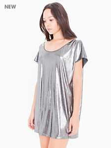 Metallic Jersey Short Sleeve Tunic