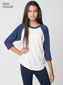 Youth Tri-Blend 3/4 Sleeve Raglan