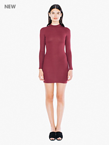 Rib Long Sleeve Mockneck Dress