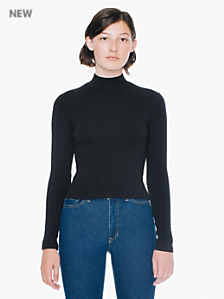 Rib Long Sleeve Turtleneck Top