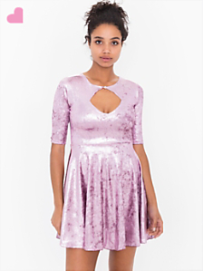 Shiny Velvet Keyhole Dress