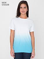 Unisex Blue Dip Dye Tie Dye Fine Jersey Short Sleeve T-Shirt