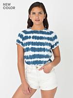 Unisex Navy Stripe Tie Dye Fine Jersey Short Sleeve T-Shirt
