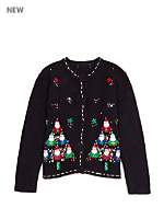Vintage Kids' Santa Trees Christmas Cardigan