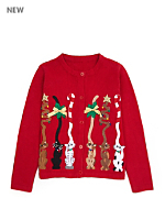 Vintage Kids' Christmas Cats Cardigan