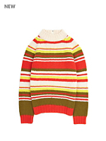 Vintage Kids' Striped Wool Turtleneck Sweater