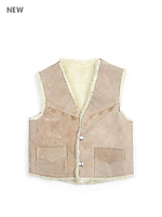 Vintage Kids' Patched Suede & Shearling Vest