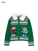 Vintage Kids' Ice Skating Bears Christmas Cardigan