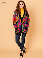 Vintage Multi-Colored Angora V-Neck Cardigan
