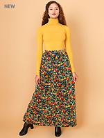 Vintage Floral Velvet Maxi Skirt