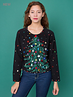 Vintage Beaded Christmas Tree Cropped Sweater