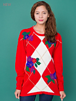 Vintage Argyle & Flowers Holiday Sweater
