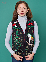 Vintage Christmas Tree & Rocking Horse Sweater Vest