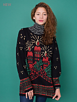 Vintage Metallic Candles Christmas Sweater