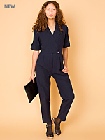 Vintage Nautical Short-Sleeve Jumpsuit
