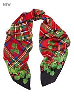 Vintage Tartan & Holly Long Silk Christmas Scarf