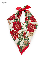 Vintage Poinsettias Silk Christmas Scarf