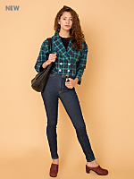 Vintage Double-Breasted Plaid Cropped Jacket