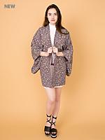 Vintage Flowers & Fans Silk Haori Kimono Jacket